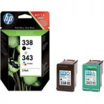 HP 338/343 Tri-colour & Black Ink Cartridges – Twin Pack, Black