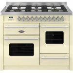 BRITANNIA Delphi RC11XGGDECR Dual Fuel Range Cooker – Gloss Cream & Stainless Steel, Stainless Steel