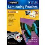 FELLOWES Enhance 80 Micron A4 Laminating Pouches – 100 Pack