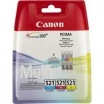 CANON CLI-521 Cyan, Magenta & Yellow Ink Cartridges – Multipack, Cyan
