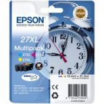EPSON Alarm Clock 27XL Cyan, Magenta & Yellow Ink Cartridges – Multipack, Cyan