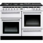 RANGEMASTER Hi-LITE 110 Dual Fuel Range Cooker – White & Chrome, White