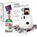 FUJIFILM Instax Mini 8 Instant Camera & 10 Shot Bundle – White, White