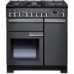 RANGEMASTER Professional Deluxe 90 Dual Fuel Range Cooker – Slate & Chrome
