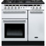 RANGEMASTER Hi-Lite 90 Dual Fuel Range Cooker – White & Chrome, White