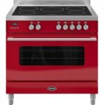 BRITANNIA Delphi 90 RC9SIDERED Electric Induction Range Cooker – Gloss Red & Stainless Steel, Stainless Steel