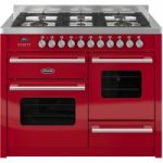BRITANNIA Delphi 110 RC11XGGDERED Dual Fuel Range Cooker – Gloss Red & Stainless Steel, Stainless Steel