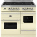 BRITANNIA Delphi 100 XG Electric Induction Range Cooker – Gloss Cream & Stainless Steel, Stainless Steel