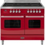 BRITANNIA Delphi 100 Twin Electric Induction Range Cooker – Gloss Red & Stainless Steel, Stainless Steel