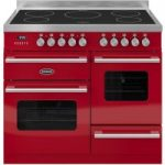 BRITANNIA Delphi 100 XG Electric Induction Range Cooker – Gloss Red & Stainless Steel, Stainless Steel