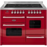 BRITANNIA Delphi 110 RC11XGIDERED Electric Induction Range Cooker – Gloss Red & Stainless Steel, Stainless Steel