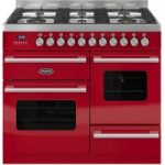 BRITANNIA Delphi 100 RC10XGGDERED Dual Fuel Range Cooker – Gloss Red & Stainless Steel, Stainless Steel