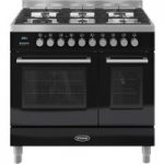 BRITANNIA Q Line 90 Twin Dual Fuel Range Cooker – Gloss Black & Stainless Steel, Stainless Steel