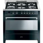 SMEG Opera 90 Dual Fuel Range Cooker – Black & Stainless Steel, Stainless Steel