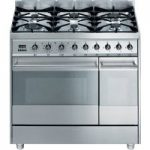 SMEG Symphony 90 Dual Fuel Range Cooker – Stainless Steel, Stainless Steel