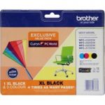 BROTHER LC229XLDSVALBPRF Tri-colour & Black Ink Cartridges – Multipack, Black