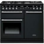 RANGEMASTER Hi-LITE 100 Dual Fuel Range Cooker – Black & Chrome, Black