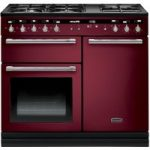 RANGEMASTER Hi-LITE 100 Dual Fuel Range Cooker – Cranberry & Chrome, Cranberry