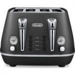 DELONGHI Distinta CTI4003.BK 4-Slice Toaster – Black, Black