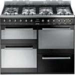 SMEG SYD4110BL 110 cm Dual Fuel Range Cooker – Black & Stainless Steel, Stainless Steel