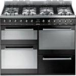 SMEG SYD4110BL 110 cm Dual Fuel Range Cooker – Black & Stainless Steel, Stainless Steel