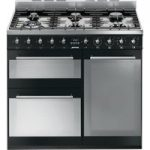 SMEG Symphony 90 cm Dual Fuel Range Cooker – Black & Stainless Steel, Stainless Steel