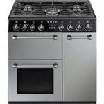 SMEG Blenheim 90 cm Dual Fuel Range Cooker – Silver & Black, Silver