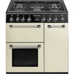 SMEG Blenheim 90 cm Dual Fuel Range Cooker – Cream & Black, Cream