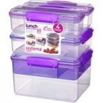 SISTEMA Snack Attack Stack Rectangular Boxes – Purple, Pack of 4, Purple