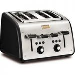 TEFAL Maison TT7708UK 4-Slice Toaster – Stainless Steel & Chalkboard Black, Stainless Steel