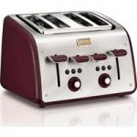 TEFAL Maison TT7705UK 4-Slice Toaster – Stainless Steel & Pomegranate Red, Stainless Steel