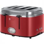 RUSSELL HOBBS Retro Red 4SL 21690 4-Slice Toaster – Red, Red