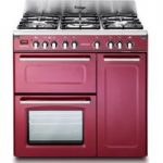 KENWOOD CK503VB 90 cm Dual Fuel Range Cooker – Burgundy & Stainless Steel, Stainless Steel