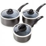 TOWER T80302 3-piece Saucepan Set – Graphite Grey, Graphite