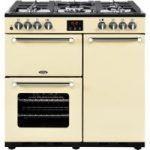 BELLING Kensington 90DFT Dual Fuel Range Cooker – Cream & Chrome, Cream
