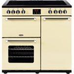 BELLING Kensington 90 cm Electric Ceramic Range Cooker – Cream & Chrome, Cream