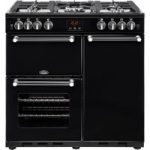 BELLING Kensington 90G Gas Range Cooker – Black & Chrome, Black