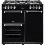 BELLING Kensington 90G Gas Range Cooker – Black & Chrome, Black