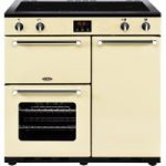 BELLING Kensington 90 cm Electric Induction Range Cooker – Cream & Chrome, Cream