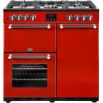 BELLING Kensington 90DFT Dual Fuel Range Cooker – Red & Chrome, Red