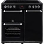 BELLING Kensington 90E Electric Ceramic Range Cooker – Black & Chrome, Black