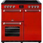 BELLING Kensington 90 cm Electric Ceramic Range Cooker – Red & Chrome, Red