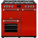 BELLING Kensington 90G Gas Range Cooker – Red & Chrome, Red