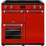 BELLING Kensington 90 cm Electric Induction Range Cooker – Red & Chrome, Red