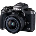 CANON EOS M5 Compact System Camera with 15-45 mm f/3.5-6.3 Zoom Lens – Black, Black