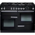 Rangemaster Professional 110 Dual Fuel Range Cooker – Black & Chrome, Black