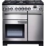 Rangemaster Professional Deluxe 100 Dual Fuel Range Cooker – Stainless Steel & Chrome, Stainless Steel
