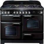 Rangemaster Classic Deluxe 110 Dual Fuel Range Cooker – Black & Chrome, Black