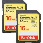 SANDISK Extreme Plus Class 10 SD Memory Card Twin Pack – 16 GB