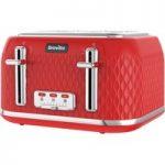 BREVILLE Curve VTT914 4-Slice Toaster – Red, Red